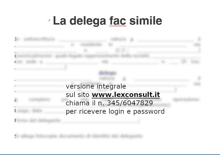 LA DELEGA - FAC SIMILE