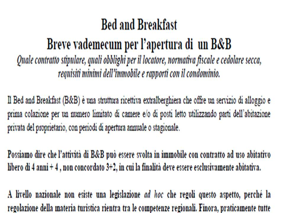 Bed and Breakfast Breve vademecum per l'apertura di  un B&B