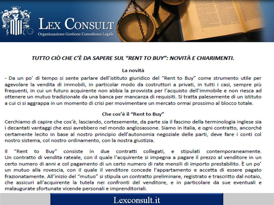 Area documenti for Contratto rent to buy